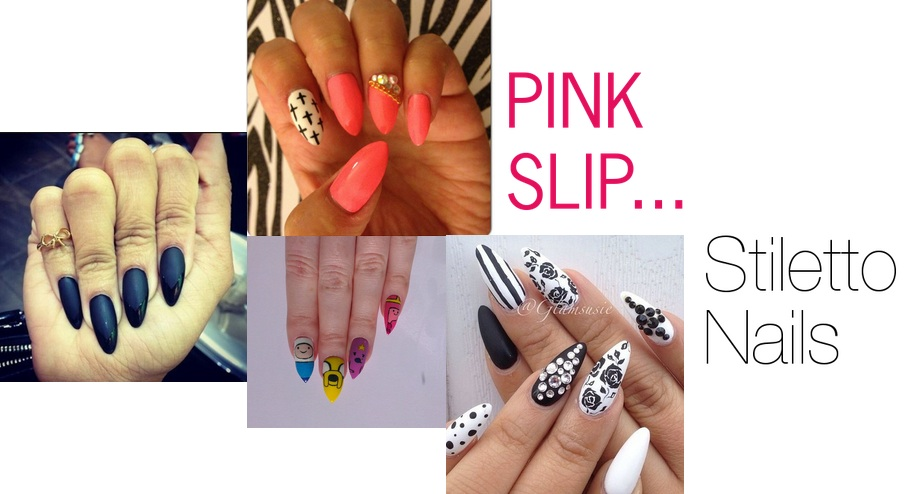 Pink Slip Fashion Stiletto Nails